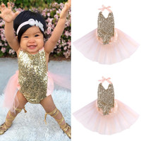 Baby Girls Sequins Bodysuit Romper Jumpsuit Summer Sunsuit Outfits Clothes 0-24M