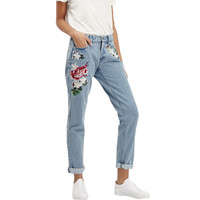 2017 Vintage flower embroidered high waist jeans woman blue pencil slim skinny designer jeans women denim pants plus size