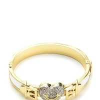 Pave Heart Buckle Leather Bangle by Juicy Couture