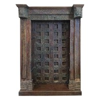 Pre-owned Antique Architectural Red and Blue Door Bookcase
