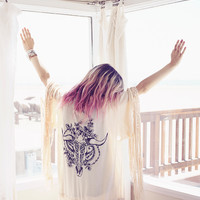 Indian Summer Tassel Kimono - Oyster | Spell & the Gypsy Collective