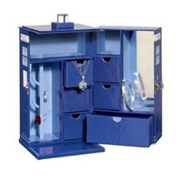 Doctor Who Tardis Jewelry Box - Includes 7 Drawers, Mirror, and Ring Hanger