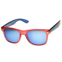 Frosted Multi Color Two-Tone Color Mirror Lens Horn Rimmed Sunglasses