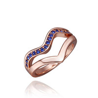 Rose Gold Plated Swirl Lock Design with Saphire Jewels Ring