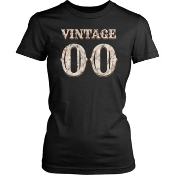 Women's Vintage 00 Tshirt 18th Birthday Gift for 18 Year Old