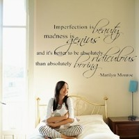 """Marilyn Monroe Quote Decor ~ Imperfection is beauty ~ Vinyl Lettering Wall Decal Sticker Girls Dorm Bedroom Art Wall Tatoo Decor Girl`s Birthday Gift Hotel mural - 31"""" Black: Home & Kitchen"""