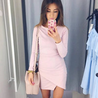 Simple Fashion Long Sleeve Short Irregular Bodycon Dress
