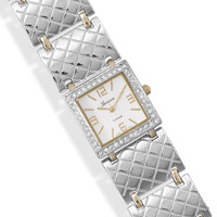 7.25in-8in Two Tone Fashion Watch with Cubic Zirconia Accents