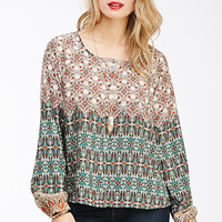 Abstract Paisley Button-Down Top