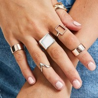 Missguided - Gold Thick Rings Set