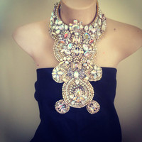 THE BLING AB crystal Czech glass rhinestone statement bib collage collar necklace; , white and ivory rhinestones