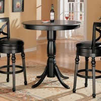 Home bar table traditional style black finish wood round bar table with decorative legs and pedestal