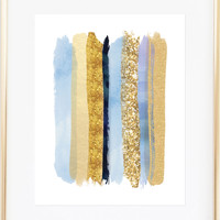 Glamorous Blue and Gold Wall Art