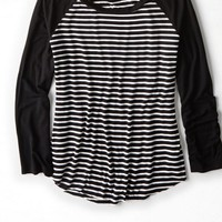 AEO Women's Soft & Sexy Striped Baseball T-shirt