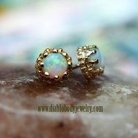 Body Vision BVLA 14kt Yellow White Rose Gold Opal Crown Threaded End 18g 16g 14g 12g [10-0254 Crown Opal 18g16g14g12g] - $149.99 : Diablo Body Jewelry, The Art of High Quality