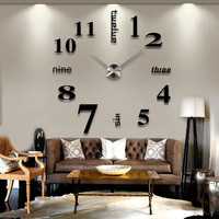 3D DIY Large Wall Clock-Black