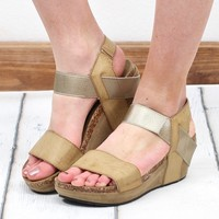 Chantal Metallic Low Wedge Sandal {Nude}