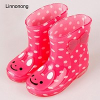 2017 New Kids Rainboots For Girls Children's Wellington Boots Animal PVC Antiskid Lovely Waterproof Boots Wallow Baby Cute Shoes
