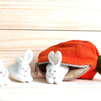 Bunny Family in Carrot Purse