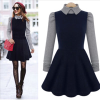 Long Sleeve Winter Dolls Dress One Piece Dress [9535611780]