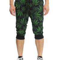 Men's Leaf Print French Terry Jogger Shorts