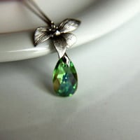 Necklace: Rhodium plated leaves with emerald green swarovski crystal, rhodium plated chain gift for  wedding, valentine's mother's day