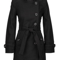 Military Style Coat With Asymmetric Front Closure - Black