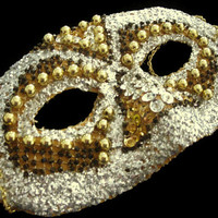 Shiny Gold and Silver Boldly Beaded Masquerade Ball Mask, Halloween Costume Mask, Hand Beaded Mask With Glitter and Lace, Free US Shipping
