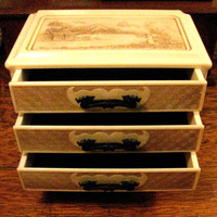 Asian Motif Jewelry Box, Drawer Chest, Dragon Handles, Vintage Oriental Garden and Mountain Scenes, Velvet Lined Drawers, Celluloid Plastic