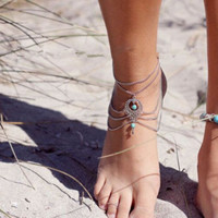 Sexy Boho/Hippie Layered Anklet (Silver) One Site Fits All