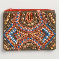 Small Olive Hand Beaded Travel Pouch
