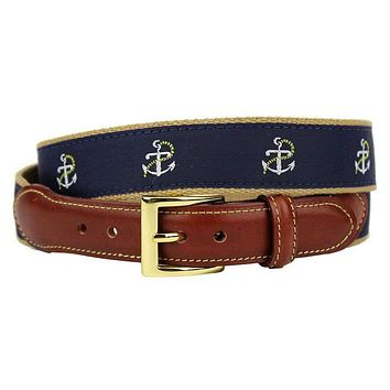 Anchor and Chain Leather Tab Belt in Navy on Khaki Canvas by Country Club Prep