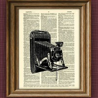 Antique BELLOWS CAMERA print over an upcycled by collageOrama