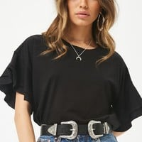Tiered-Sleeve Cotton Tee