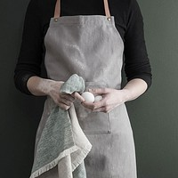Gray Adult Apron 100% Cotton with Adjustable Leather Strap