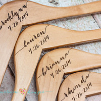 Personalized Bridesmaid Hanger - Wooden Engraved Hanger - Bridal Dress Hanger