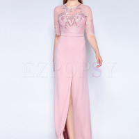 Pink Perspective Embroidery Prom Dress