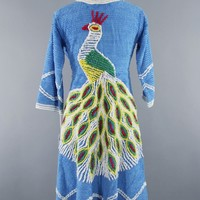 Vintage 1940s Chenille Robe with Blue Peacock
