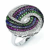 Sterling Silver Black Rhodium Blue/Green Glass Synth. Ruby & CZ Ring