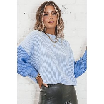 Ice Ice Baby Blue Color Block Sweater