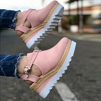 New fashion sandals summer thick-soled fish mouth buckle sandals shoes Pink