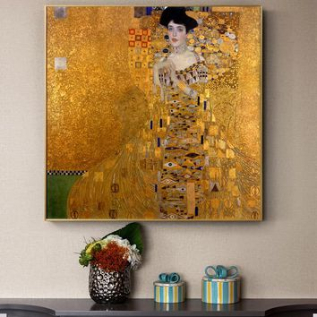 Gustav Klimt Kiss Paintings Replica On The Wall Portrait Of Adele Bloch Golden Classical Wall Art Canvas Picture For Living Room