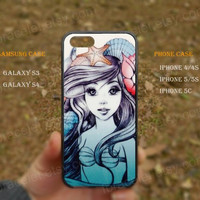 Shells and starfish little mermaid  iPhone 5s case,iPhone 5C ,Samsung Galaxy S3,S4 Case,iPhone 5 Case,iPhone 4,4s case,water proof,Gifts