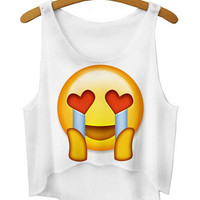YNM emoji crop top 3d funny printed harajuku tank tops women/girls/ladies sexy vest cotton loose sexy sleeveless t-shirts 18