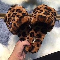 UGG Autumn Winter Trending Women Stylish Leopard Fur Slippers I/A