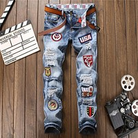 2017 Fashion Patchwork Jeans Men Ripped Jeans Brand Scratched Biker Jeans Hole Denim Straight Slim Fit Casual Pants Big Size