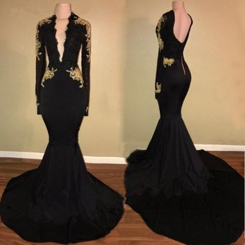 Evening Dresses Black Prom Dresses Long Sleeves Sheath