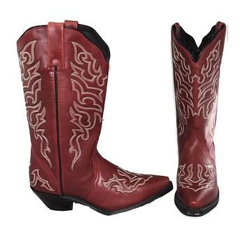 Rockin' Country Brick Red Leather Cowboy Boots Sz 7.5 Women's Boho Style