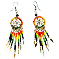 Rasta Bead Dream Catcher Earrings on Sale for $7.99 at HippieShop.com