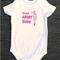 Proud Army Baby pink Onesuit bodysuit navy marines airforce